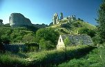 Corfe Castle and mill stream, Dorset, England