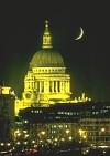 St Paul's Cathedral at night with crescent-moon, London