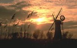 Thurne windpump at sunset, Norfolk Broads, England