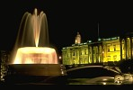 Trafalgar Square fountain at night, London
