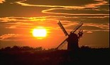 Wilton windmill with setting sun