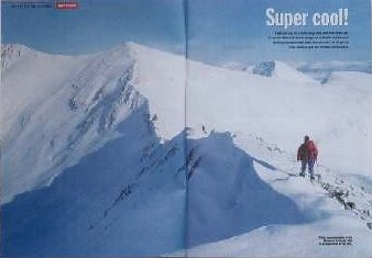Winter mountaineering double page spread